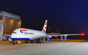airport,ночь,British airways,airbus