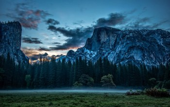 National park,california,скалы,Yosemite,луг,Облака,туман,йосемити