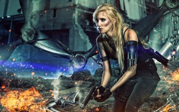 blonde,Apocalypse,rocks,chains,gun,fire,Machine,future,woman