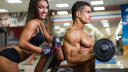 Fitness,pose,Dumbbell,herculean arm,look,smiling,muscles,woman,training