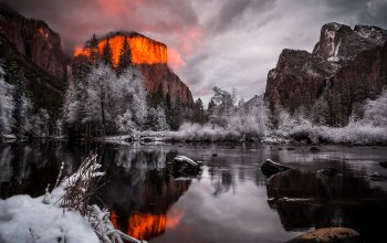 fire,clouds,Yosemite,light,monument,park,ice,national,landscape,california,forest