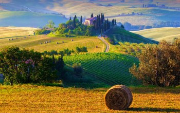 morning,trees,field,farms,hills,haystacks,sunrise,hay,italy,landscape