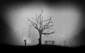 city ruins,lonely,limbo,game,grass,tree,black and white