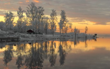 Sunset,winter,sweden