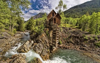 Crystal mill,water,waterfall,stream,mountain,Marble