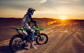 Sunset,sand,dunes,motorcycle