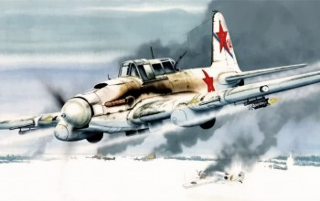 Il-2 sturmovik,painting,russian bomber fighter,ilyushin il-2,ww2,Airplane,war,aircraft
