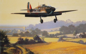 истребитель,Самолёт,Hawker hurricane,painting,aircraft art,ww2,hurricane
