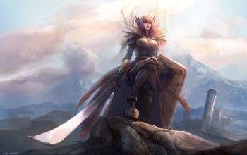 leona,свет,league of legends,доспехи,щит