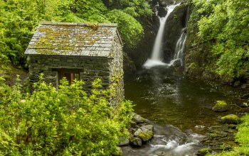 england,lake district,хижина,Rydal hall waterfall,водопад