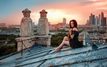 ирина гусарова,ножки,Sunset on the roof,крыша