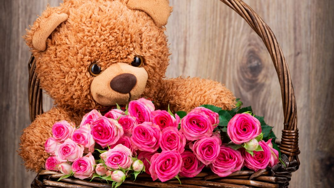 roses,With love,basket,Teddy,корзина