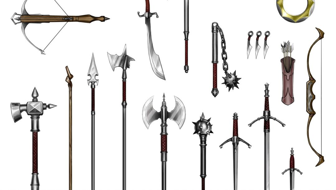 long sword,war hammers,short sword,spears,flail,quiver,scimitar,halberds,Bow and arrows