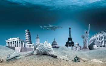 underwater,ocean,World,ракушки,дно,Seashells,travel