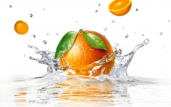 вода,white background,брызги,апельсин,orange,sprays