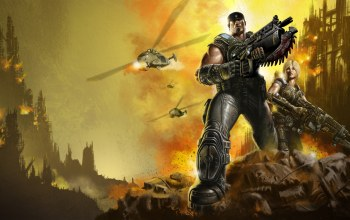 gears of war,Бойцы,Marcus fenix,anya stroud,взрывы