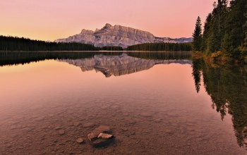 two jack lake,mount rundle,canada,банф,alberta