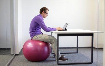 Exercise ball,working,office,notebook