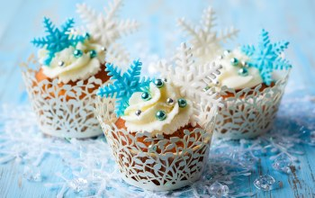 food,Cupcake,cream,winter,cake,snowflakes,кексы,крем,сладкое,sweet