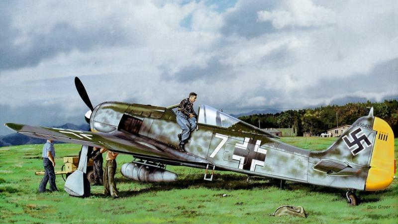 painting,don greer,german fighter,Fw 190,aviation,war,ww2