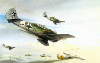 b 24 liberator,ww2,drawing,war,dogfight,Fw 190,painting,concept art,aviation,combat