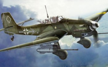 "painting,german iiww dive-bomber,aviation,Junkers ju 87 g-2 stuka ""rudel"""