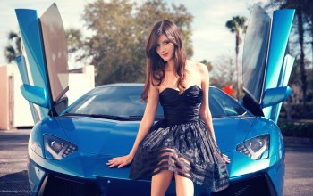 dress,Zoe p,legs,Lamborghini,beautiful,girl,hair,view