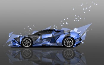 Abstract,hybrid,supercar,Lamborghini,Tony kokhan,colors,aerography,side,blue