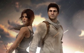 nathan drake,crossover,uncharted,lara croft,tomb raider