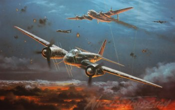 ночной истребитель,night fighter,junkers,Ju 88g,painting,aircraft art,ww2