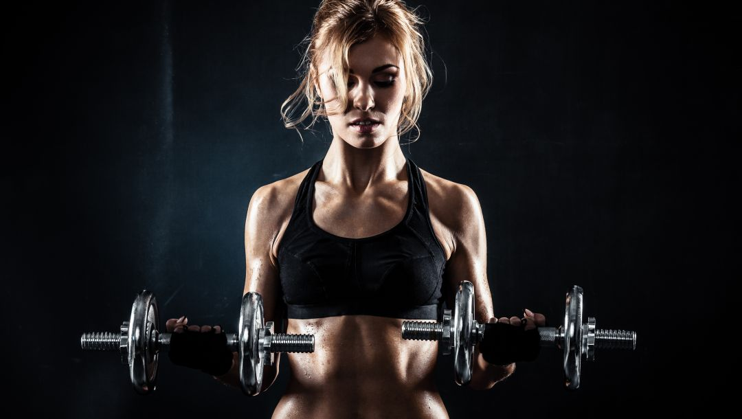 pose,blonde,sexy,Dumbbell
