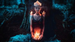 crown,sleep,mystic,candle,forest,flame