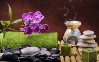 wellness,salt,цветы,candles,still life,Spa