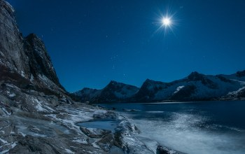 rocks,evening,Moonlight,mountains,stars,winter