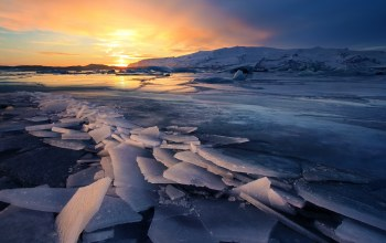 ice,winter,iceland,glacier,sunsets,freeze,landscapes
