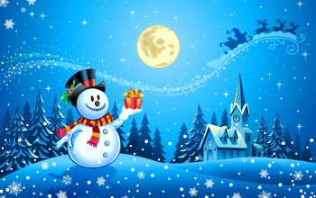 Snowman,full moon,scarf,santa claus,,merry christmas,snow,ice town,trees