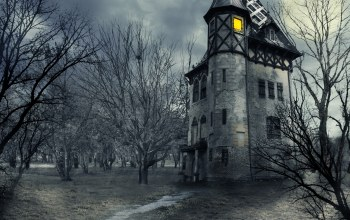 Haunted house,creepy,Halloween,clouds,full,sky,trees,scary