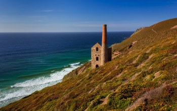 Towanroath shaft engine house,england,celtic sea,cornwall,porthtowan,wheal coates