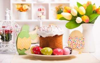 Easter,кулич,blessed,cake,яйца,eggs,decoration,holiday,tulips,spring