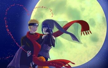 uzumaki naruto,hinata hyugo,ночь,red scarf,naruto the movie the last