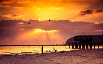 Sunset,pier,fishing,beach