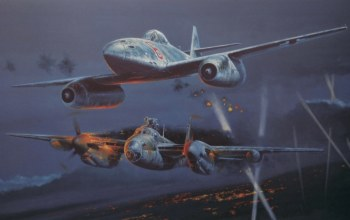 painting,night fighter,ww2,De havilland mosquito,war,aviation,Messerschmitt me 262