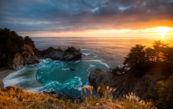 mcway falls,california,landscape,Sunset
