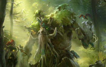 enchantress,tree,valve,forest,treant protector