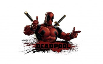 Deadpool,pose,blood,swords,costume
