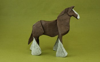 power,Origami,horse,brown horse,лошадь