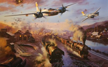 Invader,штурмовик,a-26,painting,A-26 invader,ww2,бомбардировщик