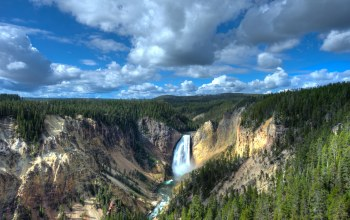 Yellowstone lower falls,usа,Пейзаж,водопад,wyoming,каньон