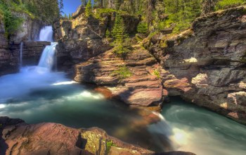 Glacier national park,St mary falls,водопад