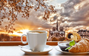 завтрак,coffee,breakfast,paris,cathedral,croissant,cup,france,кофе,notre dame